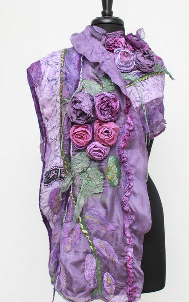 Felted  Scarf Nuno Felted Scarf Shawl Wrap chunky texture Fiber Art Scarf Lavender Scarf Roses Scarf Pink Roses Shawl Romantic Scarf