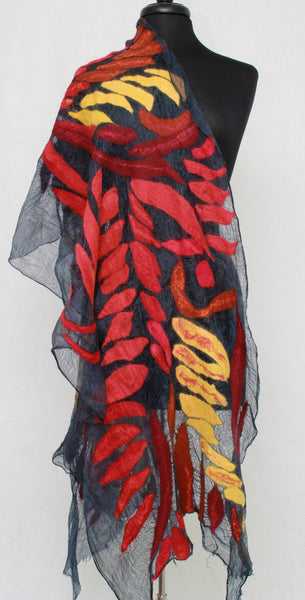 Large Felted Scarf Nuno Felted Scarf Shawl Wrap Fiber Art Scarf Red  Scarf Shawl Romantic Scarf Felt Wrap