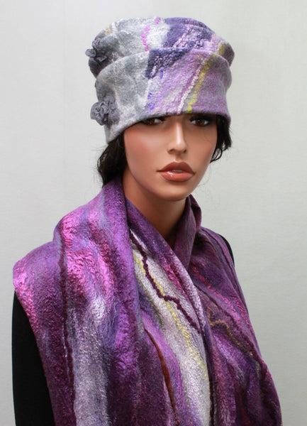 A Felted hat  Eco print hat Nunofelt Hat Art hat Wild hat  Wearable art Nuno felt Winter wool hat and scarf OOAK