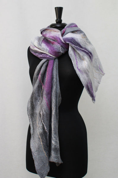 Cobweb Scarf Lacy Airy Weightless Scarf Silver Grey  and Purple