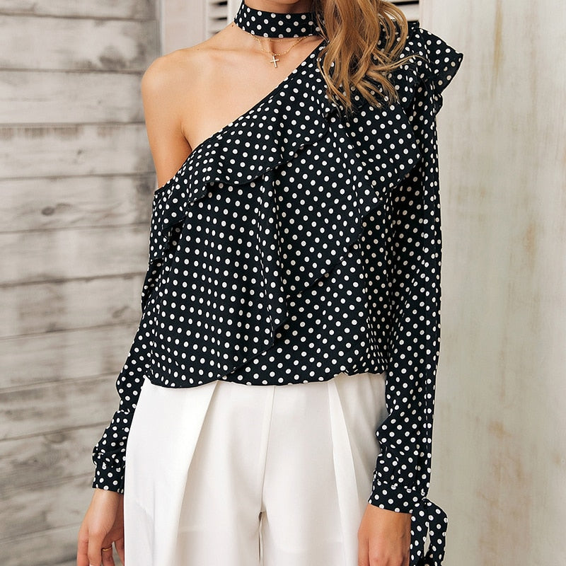 90ba45a5390 Sexy One Shoulder Polka Ruffle Blouse – The Best Dressed Woman