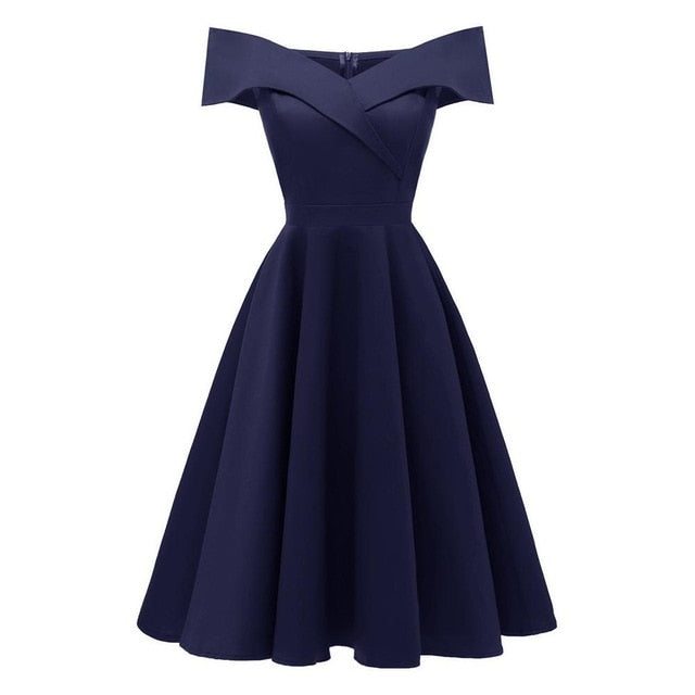 12ace227f2 Vintage Style Off Shoulder Midi Dress – The Best Dressed Woman