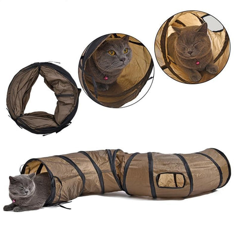 4' Long and Curvy Cat Tunnel with Windows at CatToyz.com