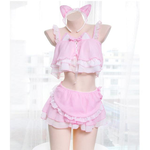Sexy Women's Cat Lingerie Set with Ruffle Camisoles & Underwear at CatToyz.com
