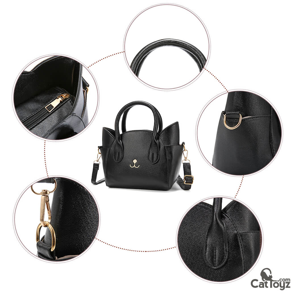 Elegant Artificial Leather Cat Face Hand Bag/Purse Black | CatToyz.com | Shop Cat Toys, Clothes, and Grooming Supplies