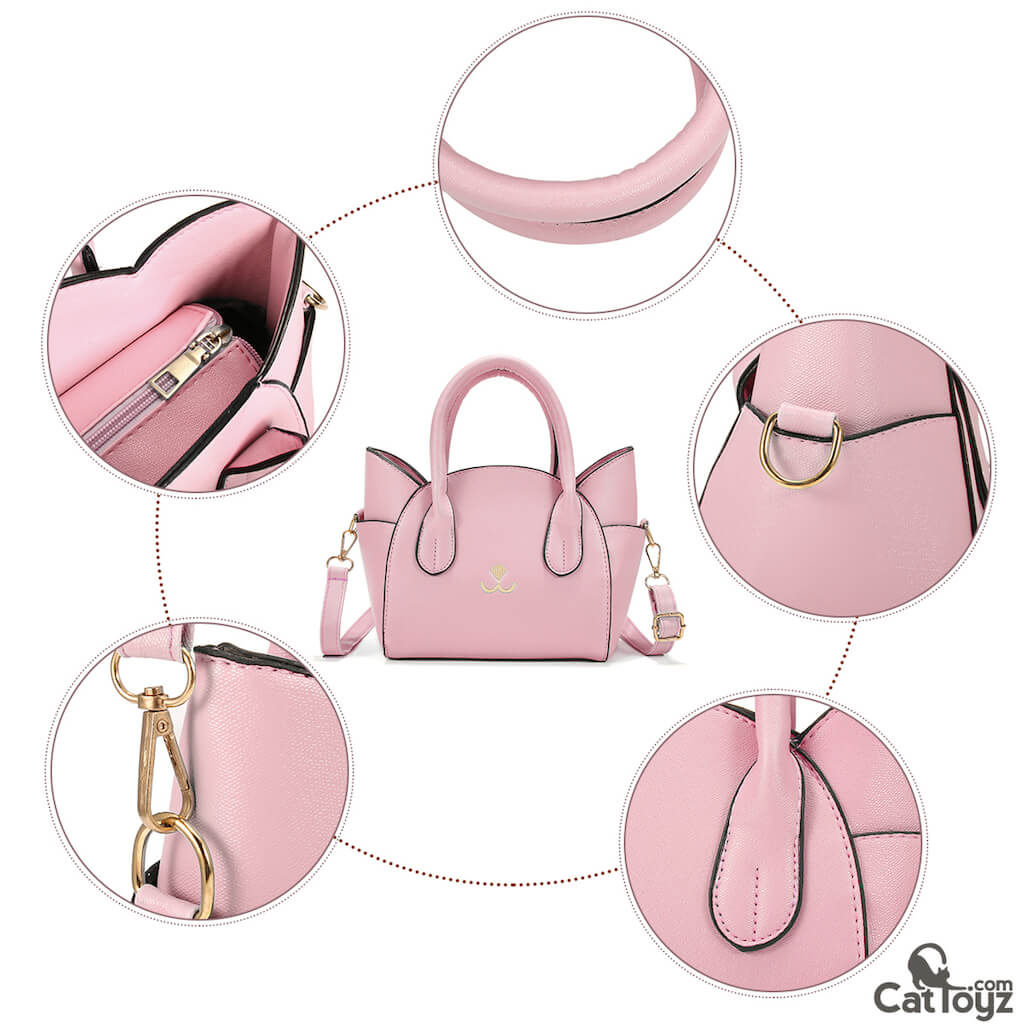 Elegant Artificial Leather Cat Face Hand Bag/Purse Pink | CatToyz.com | Shop Cat Toys, Clothes, and Grooming Supplies