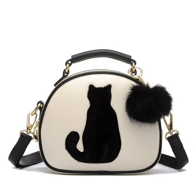 Faux Leather Purse with Cat Silhouette and Pom-Pom Accent Beige | CatToyz.com | Shop Cat Toys, Clothes, and Grooming Supplies