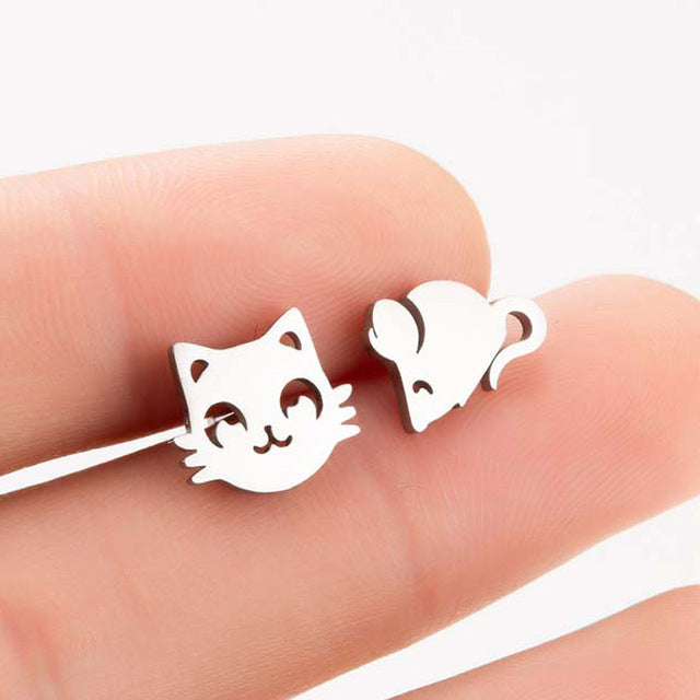 Elegant Stainless Steel Cat Earrings In Four Colors Cat Face / Rose Gold | CatToyz.com | Shop Cat Toys, Clothes, and Grooming Supplies