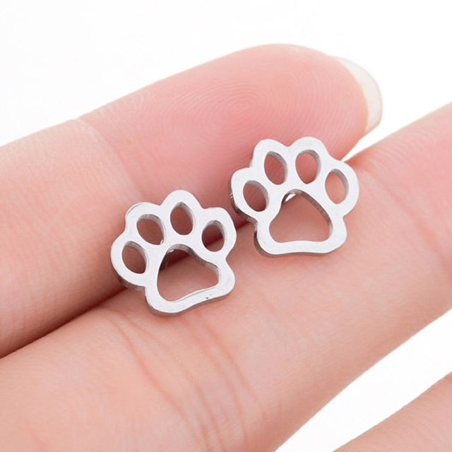 Elegant Stainless Steel Cat Earrings In Four Colors Cat Paw Print / Black | CatToyz.com | Shop Cat Toys, Clothes, and Grooming Supplies