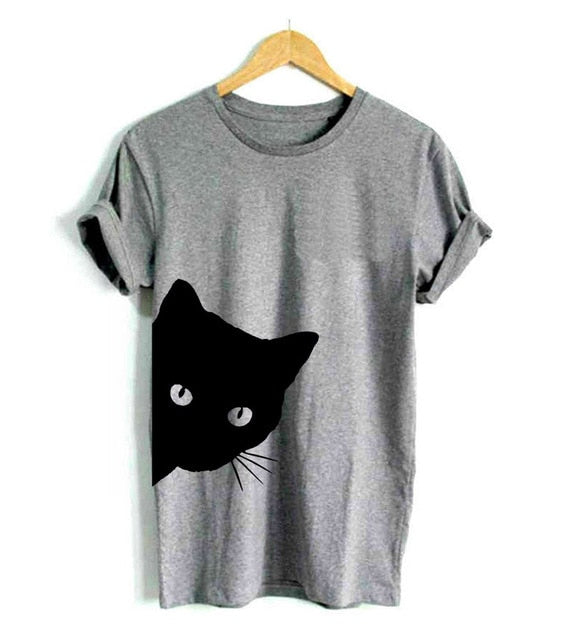 Pop-out Peekaboo Cat T-shirt! Plus Sizes Available! Gray / S | CatToyz.com | Shop Cat Toys, Clothes, and Grooming Supplies