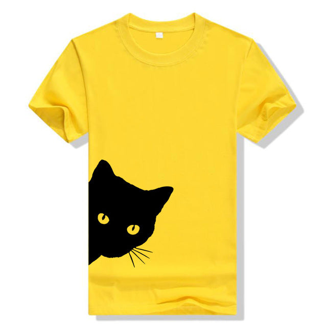 Pop-out Peekaboo Cat T-shirt! Plus Sizes Available! Yellow / XXL | CatToyz.com | Shop Cat Toys, Clothes, and Grooming Supplies