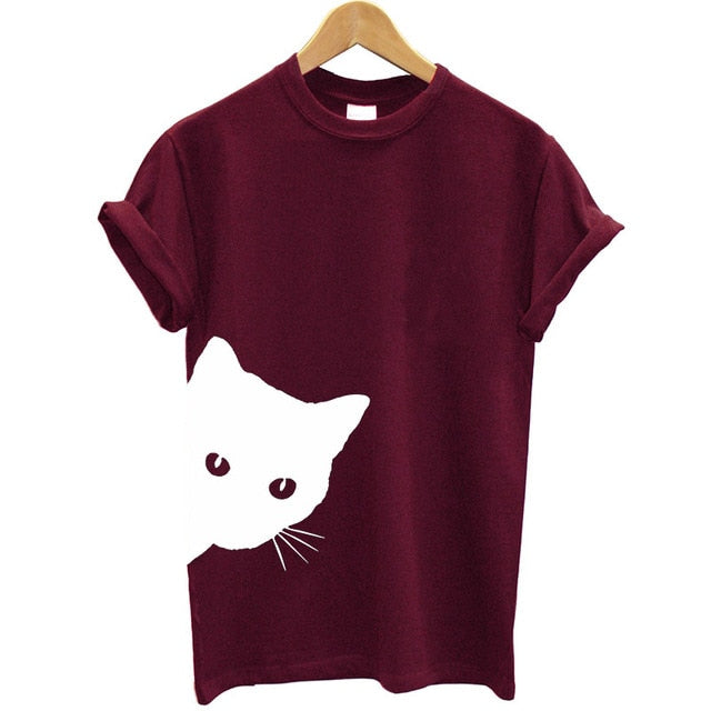 Pop-out Peekaboo Cat T-shirt! Plus Sizes Available! Burgundy / XL | CatToyz.com | Shop Cat Toys, Clothes, and Grooming Supplies