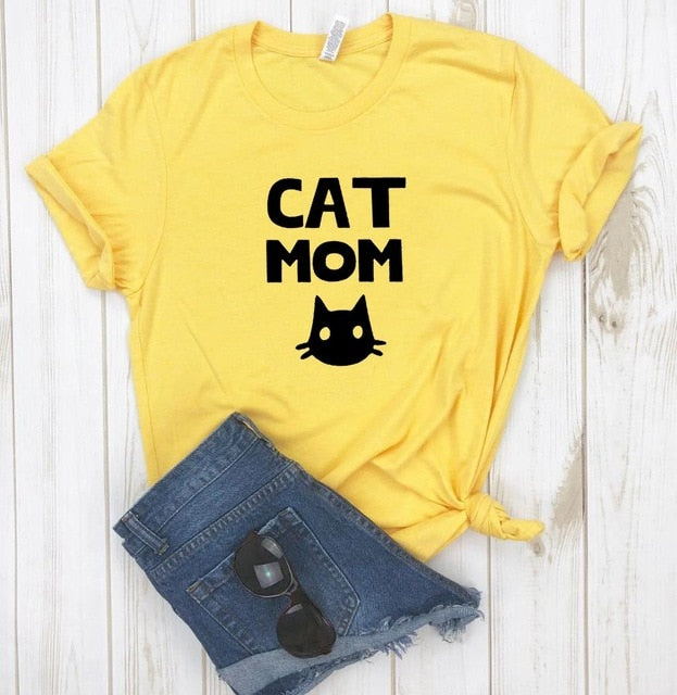 """CAT MOM"" Fashion Hipster T-shirt Yellow / XXXL 