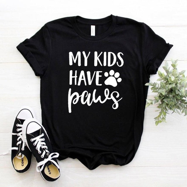 """My Kids Have Paws"" Cute Ladies Paw Graphic Tee Black / XXS 