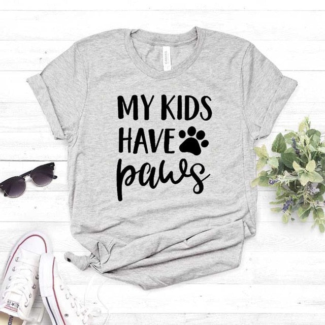 """My Kids Have Paws"" Cute Ladies Paw Graphic Tee Gray / S 
