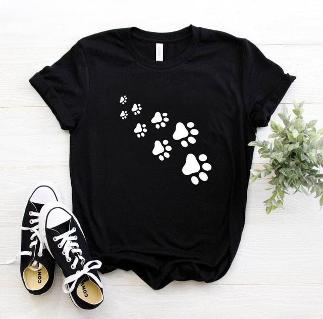 1-Paw Casual T-Shirt With Print Black / S | CatToyz.com | Shop Cat Toys, Clothes, and Grooming Supplies