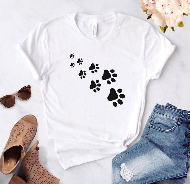 1-Paw Casual T-Shirt With Print White / XL | CatToyz.com | Shop Cat Toys, Clothes, and Grooming Supplies