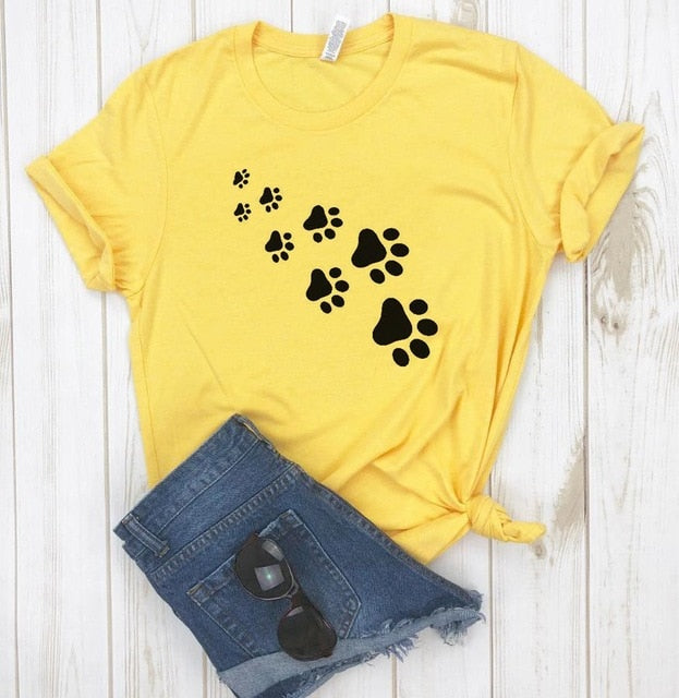 1-Paw Casual T-Shirt With Print Yellow / XXL | CatToyz.com | Shop Cat Toys, Clothes, and Grooming Supplies