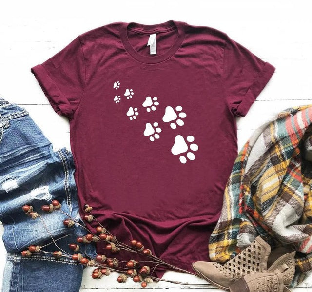 1-Paw Casual T-Shirt With Print Burgundy / XXXL | CatToyz.com | Shop Cat Toys, Clothes, and Grooming Supplies