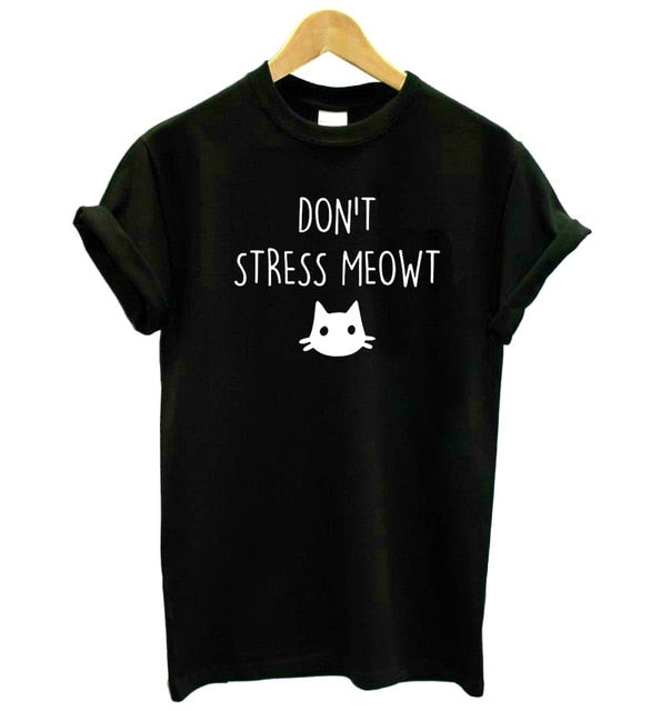 """Don't Stress Meowt!"" T-shirt BLACK / XXXL 