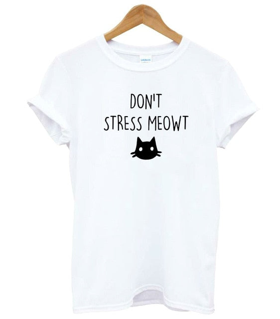 """Don't Stress Meowt!"" T-shirt WHITE / M 