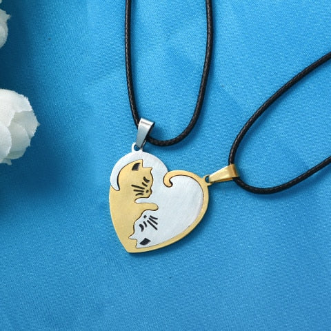 Yin/Yang Cat Pendant Puzzle Necklaces 2Pc Cat Necklace 2 | CatToyz.com | Shop Cat Toys, Clothes, and Grooming Supplies
