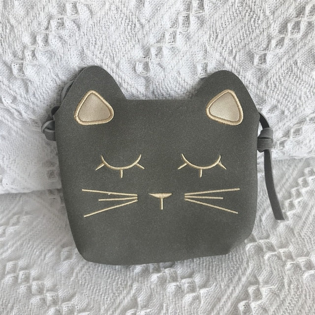 Cute Cat Shoulder Purse For Kids In Several Colors light Gray | CatToyz.com | Shop Cat Toys, Clothes, and Grooming Supplies