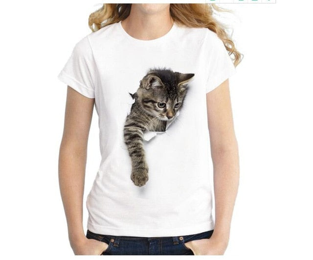 1-3D Cat Print Casual White T-Shirt  | CatToyz.com | Shop Cat Toys, Clothes, and Grooming Supplies
