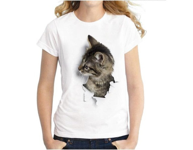 1-3D Cat Print Casual White T-Shirt 3 / S | CatToyz.com | Shop Cat Toys, Clothes, and Grooming Supplies