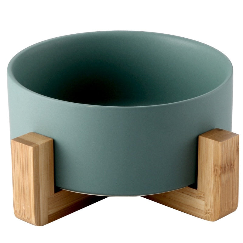 Ceramic Pet Bowl with Non-slip Bamboo Stand  | CatToyz.com | Shop Cat Toys, Clothes, and Grooming Supplies