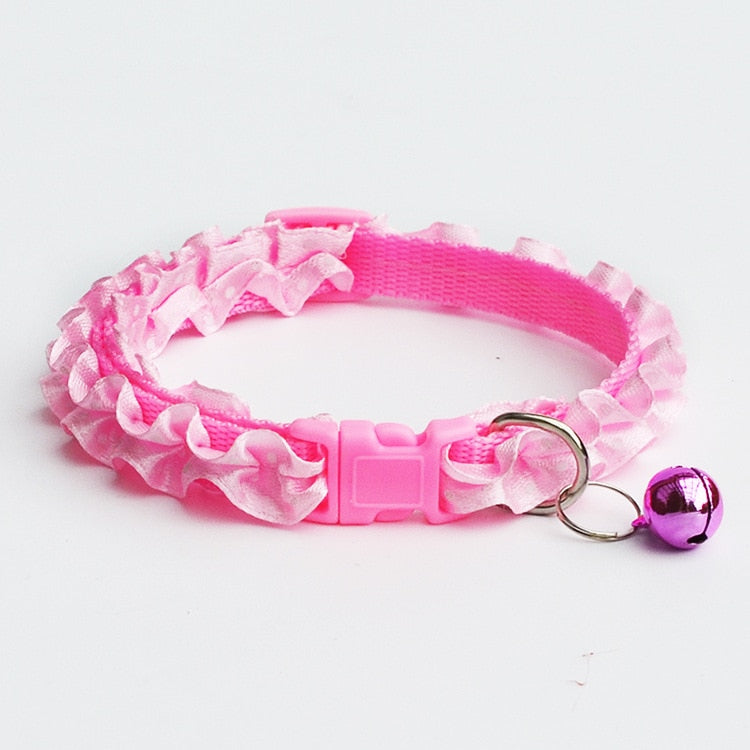 Cat Collar With Ruffles and Bell Pink / One Size | CatToyz.com | Shop Cat Toys, Clothes, and Grooming Supplies