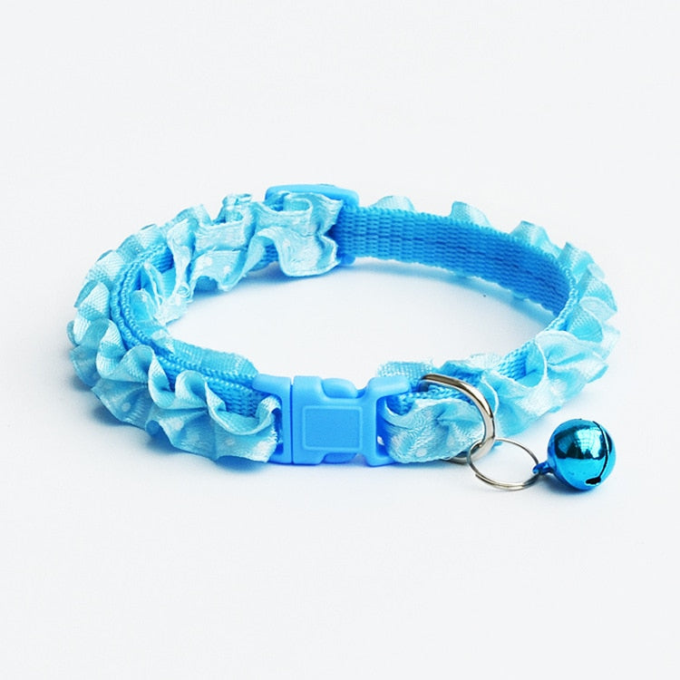 Cat Collar With Ruffles and Bell Sky Blue / One Size | CatToyz.com | Shop Cat Toys, Clothes, and Grooming Supplies