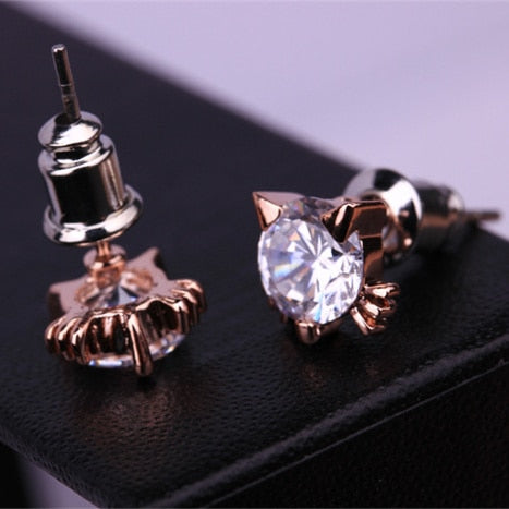 Fabulous Cat Themed Earrings - Several Styles Gold-crystal cat | CatToyz.com | Shop Cat Toys, Clothes, and Grooming Supplies