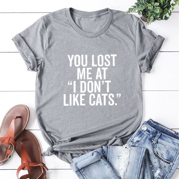 """You Lost Me at I Don't Like Cats."" T-Shirt Gray-White / L 