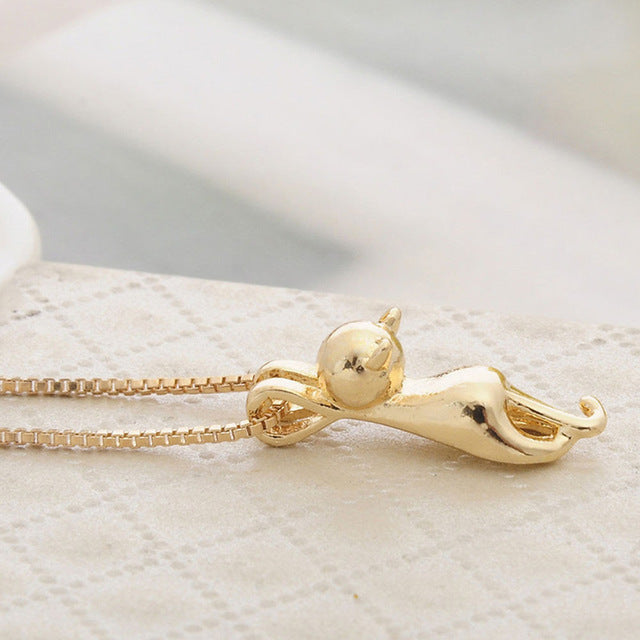 Delicate Cat Lover Necklace & Pendant in Silver or Gold Gold | CatToyz.com | Shop Cat Toys, Clothes, and Grooming Supplies