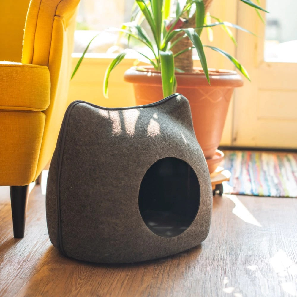 Cozy Cat-Shaped Cave  | CatToyz.com | Shop Cat Toys, Clothes, and Grooming Supplies