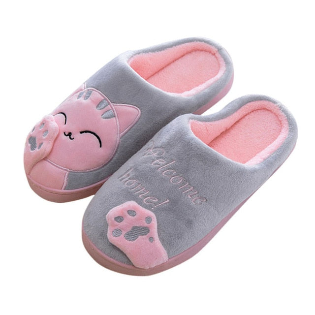 Women's Cozy Plush Cat Slippers Gray / 36 / CHINA | CatToyz.com | Shop Cat Toys, Clothes, and Grooming Supplies