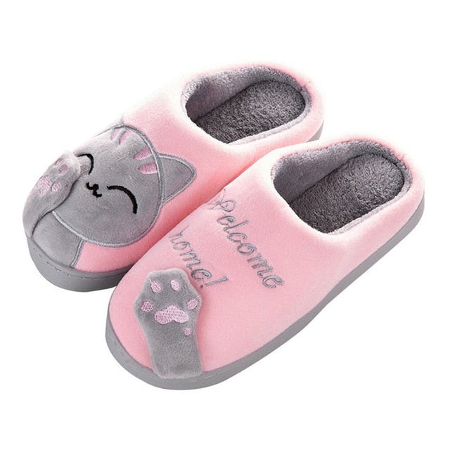 Women's Cozy Plush Cat Slippers Pink / 36 / CHINA | CatToyz.com | Shop Cat Toys, Clothes, and Grooming Supplies