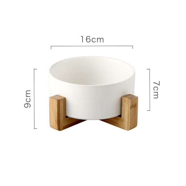 Ceramic Pet Bowl with Non-slip Bamboo Stand White | CatToyz.com | Shop Cat Toys, Clothes, and Grooming Supplies