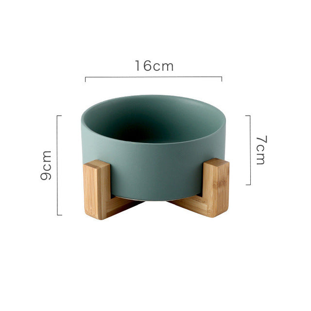 Ceramic Pet Bowl with Non-slip Bamboo Stand Green | CatToyz.com | Shop Cat Toys, Clothes, and Grooming Supplies