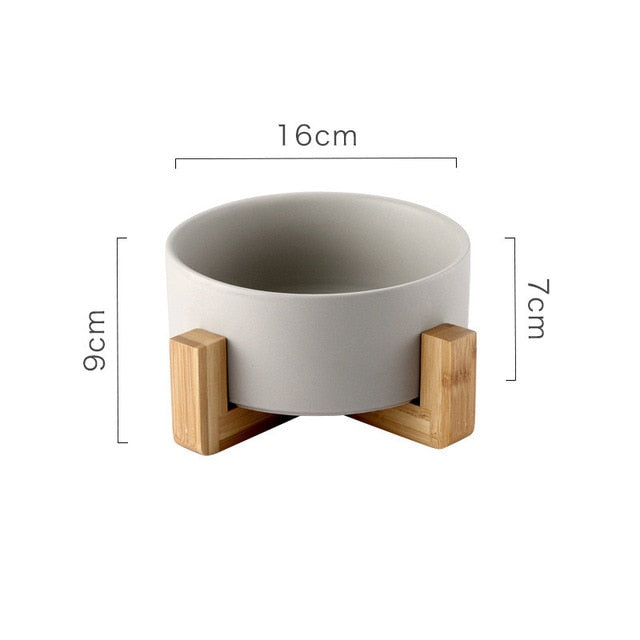 Ceramic Pet Bowl with Non-slip Bamboo Stand Gray | CatToyz.com | Shop Cat Toys, Clothes, and Grooming Supplies