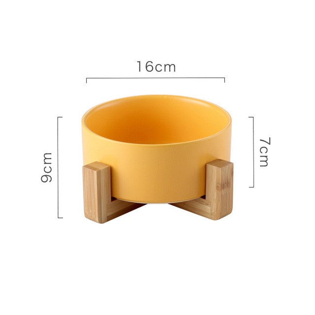 Ceramic Pet Bowl with Non-slip Bamboo Stand Yellow | CatToyz.com | Shop Cat Toys, Clothes, and Grooming Supplies