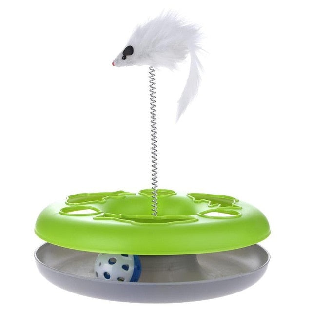 Mouse on a Spring Activity Disk Cat Toy Green | CatToyz.com | Shop Cat Toys, Clothes, and Grooming Supplies