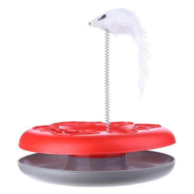 Mouse on a Spring Activity Disk Cat Toy Red | CatToyz.com | Shop Cat Toys, Clothes, and Grooming Supplies