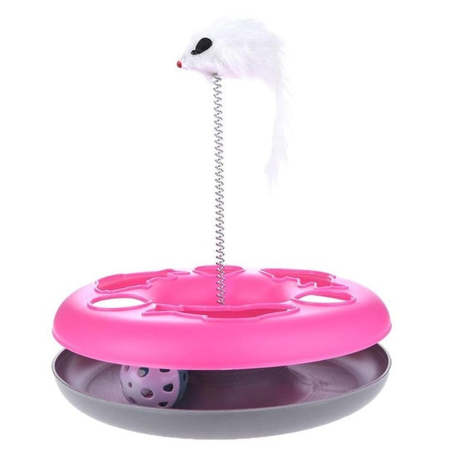 Mouse on a Spring Activity Disk Cat Toy Pink | CatToyz.com | Shop Cat Toys, Clothes, and Grooming Supplies