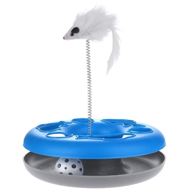 Mouse on a Spring Activity Disk Cat Toy Blue | CatToyz.com | Shop Cat Toys, Clothes, and Grooming Supplies