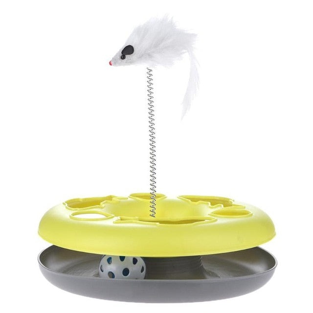 Mouse on a Spring Activity Disk Cat Toy Yellow | CatToyz.com | Shop Cat Toys, Clothes, and Grooming Supplies