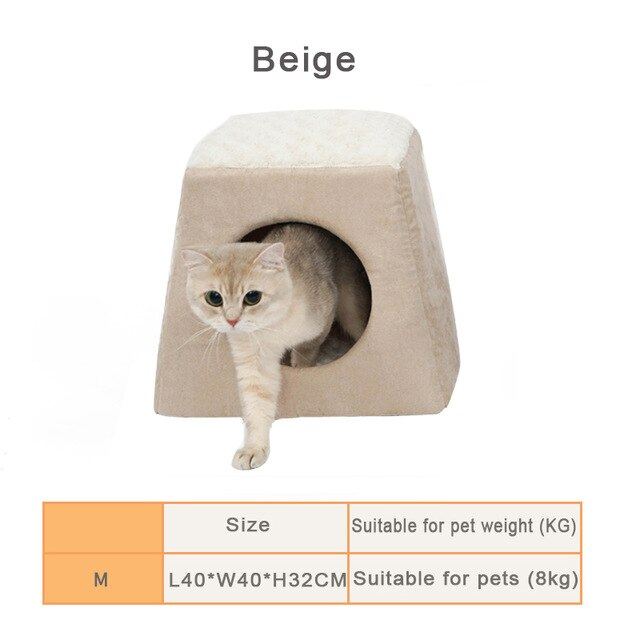 1-Cat House Bed! Plush, Soft, Warm, and Machine Washable Beige / L40xW40xH32cm | CatToyz.com | Shop Cat Toys, Clothes, and Grooming Supplies