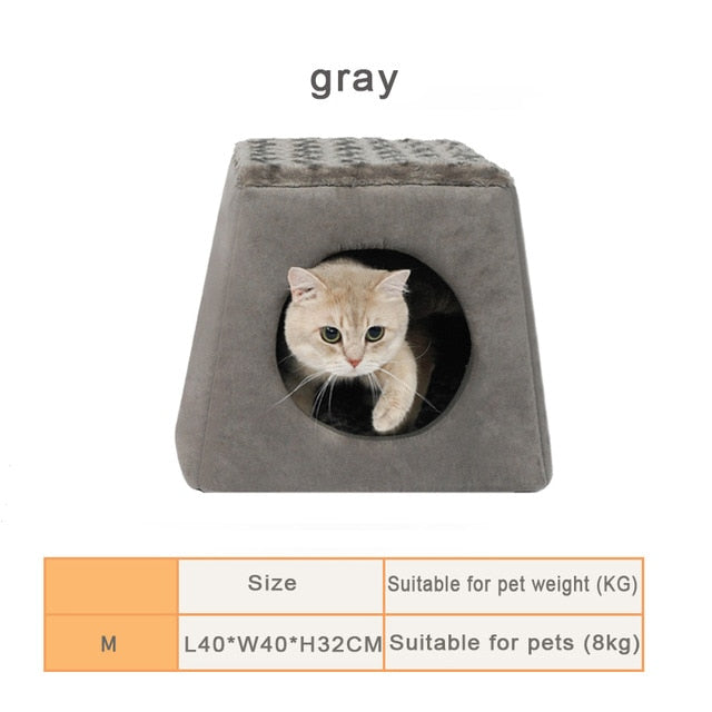 1-Cat House Bed! Plush, Soft, Warm, and Machine Washable Gray / L40xW40xH32cm | CatToyz.com | Shop Cat Toys, Clothes, and Grooming Supplies