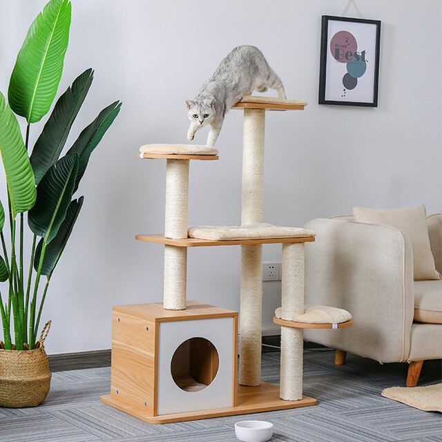 Multi-Level Modern Wooden Cat Tree Yellow / 70X45X115CM | CatToyz.com | Shop Cat Toys, Clothes, and Grooming Supplies